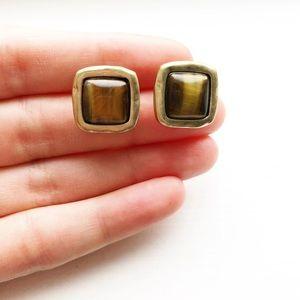 Gold & brown stone cushion cut stud earrings